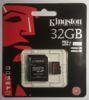 Карта памяти microSDHC UHS-I U3 KINGSTON 32 ГБ, 90 МБ/с, Class 10, SDCA3/32GB,  1 шт., переходник SD вид 6